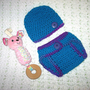 Aqua and Grape Fizz Baby Diaper Cover and Baby Hat Set Baby Shower Gift, Ready to Ship, Different sizes available
