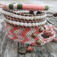 The Bohemian Bracelet Set In coral grey and beige by Nolie9238