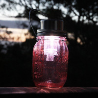 Deep red stained solar powered Ball Mason jar lantern, handmade and hand assembled in Sydney