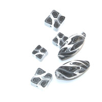 Spiral beads in black and white, combination set of marquise and square polymer Clay beads, elegant beads set of 6