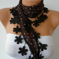 Brown Floral  Scarf  Cotton Scarf  Necklace Cowl with  Lace Edge  Gift
