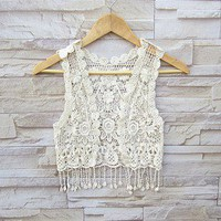 White Sleeveless Lacework Tassel Knitted Vest at Online Apparel Store Gofavor