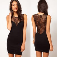 Sexy Lace Black Hollow Back Dress