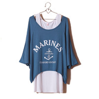 Navy Style Marine Two-piece Loose Top/T-Shirt & Vest