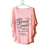 Pink Simple Print Loose Batwing T-shirt