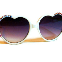 White Heart Shaped Sunglasses with Crystal Rhinestone Detail