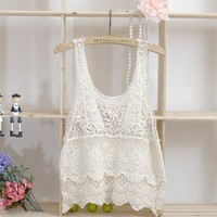 Hollowed-out Knitted Blouse Vest at Online Apparel Store Gofavor