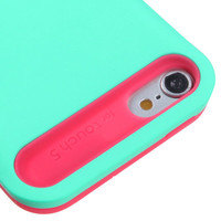 Apple iPod Touch 5 Hybrid Dual Layer Skin Cover Wallet Case Teal Green Hot Pink
