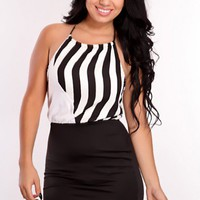 White Black Printed Two Tone Sexy Party Dress