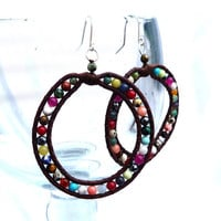 Multi colored leather hoops by Lobsterpirate on Etsy