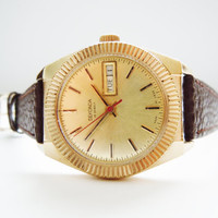Soviet Russian Vintage Gold Plated Men&#x27;s Watch SEKONDA