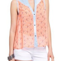 2B Denim Yoke Ditsy Print Button Down Top:Amazon:Clothing