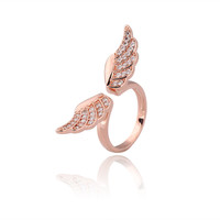 925 Sterling Silver Angel Wing Rhinestone Band Ring at Online Jewelry Store Gofavor