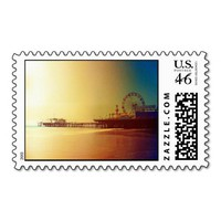 Santa Monica Pier - Orange Sunrise Photo Edit Postage Stamps from Zazzle.com