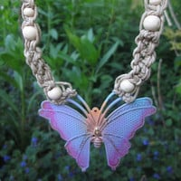 Natural Hemp / Macrame / Choker / Pastel / Brass Butterfly / Pink / Blue / Hippie Necklace / Boho / Beach Necklace / Summer