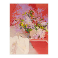 Red White Lilac Canvas Art - Oil Still life painting - Floral Art by Yuri Pysar
