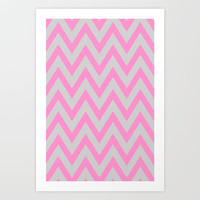 Pink &amp; Gray Chevron Art Print by daniellebourland