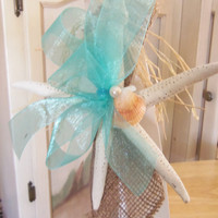 Starfish Wedding Bow&#x27;s-Beach Wedding Starfish Pew Bow&#x27;s- Nautical- Made to Order: SET of 10