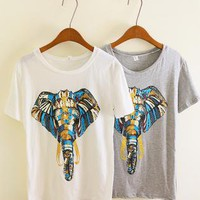 Unique Design Elephant Nose Print Short-sleeved T-shirt