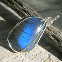 Blue Labradorite Swirl Pendant, Wire Wrapped