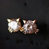 Cute Kitty Rhinestone Fashion Earrings | LilyFair Jewelry