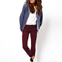 ASOS Elgin Supersoft Skinny Jeans in Oxblood at asos.com