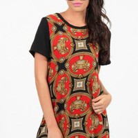Red and Black Shift Dress with Gold Front Print