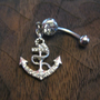 Ship Anchor with Crystal Rhinestones Belly Button Ring