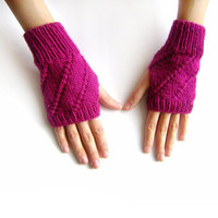 SUMMER SALE: 15% OFF - Hand Knit Fingerless Gloves in Magenta, Arm Warmers, Womens Seamless Knit Gloves, Winter Fashion