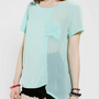 Silence &amp; Noise Asymmetric Chiffon Panel Tee