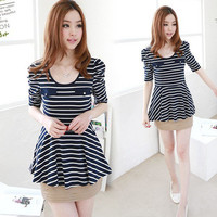 Womens Casual Short Puff Sleeve Stripes Expansion Hemline Tops Tee T-shirt