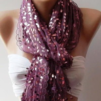 Lilac -Purple  Turkish Shawl - Scarf