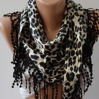 womann Elegance Scarf    Silk Satin  Black Leopard