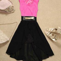 Color-blocked Belted Chiffon Dress