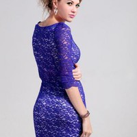 Boat Neck Blue Lace Dress
