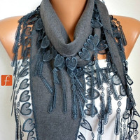 Gray Scarf  -  Pashmina Scarf  -  Cowl Scarf with Lace Edge - fatwoman