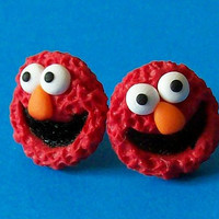 Elmo stud earrings polymer clay fimo handmade