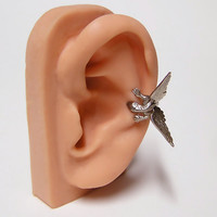 Steampunk Dragon Ear Cuff, dragon body wrap around ear (sw)