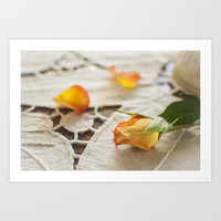 Yellow Rose on a Tablecloth Art Print by Bobbi Lewin