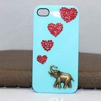 Loves Phone case iPhone 4 Elephant Case,Light Blue Grain Hard Case/Cover for iPhone 4 Case/Cover,Hollow ornate Elephant iPhone 4s Case