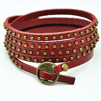 Red Soft Leather Women Leather Bracelet, Rivet Wrap Bracelet, Girl Wrap Bracelet, Cool Cuff  RZ0274