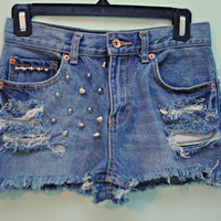 High Waisted, Destroyed &amp; Studded Jean Shorts