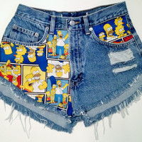 SIZE 8 - The Simpsons Highwaist Vintage Denim Shorts