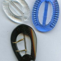 Vintage Glass buckle and slides black glass clear glass and transparent blue glass