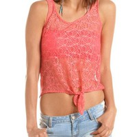 Lace Tie-Front Knit-Back Tee: Charlotte Russe