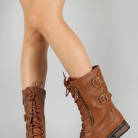Bamboo Battle-02 Zipper Lace Up Military Mid Calf Boot