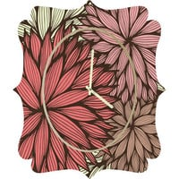 DENY Designs Home Accessories | Gabi Orange Dahlia Quatrefoil Clock