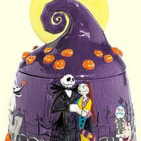 Disney Nightmare Before Christmas Cookie Jar Jack Skellington Sally Rag Doll NBX