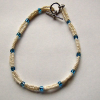 Cream &amp; Blue Beaded Anklet