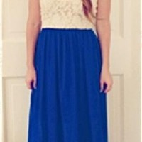 Royal Blue Maxi Dress with Lace Bustier Top